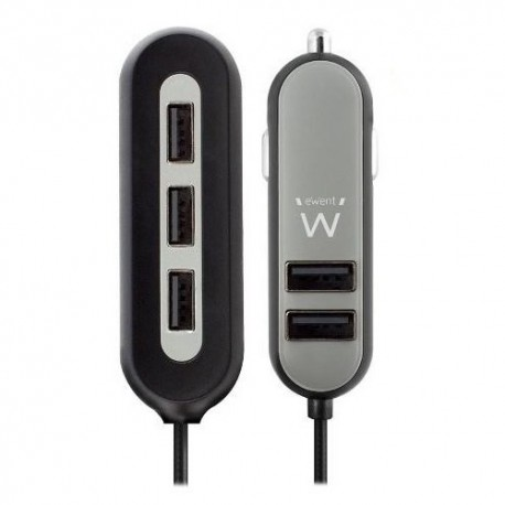 Ewent EW1355 USB autolader - 5 (2+3) poort + 10.8A